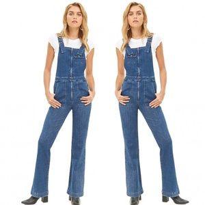 Forever 21 Wide Leg Denim Zip Front Overalls XS